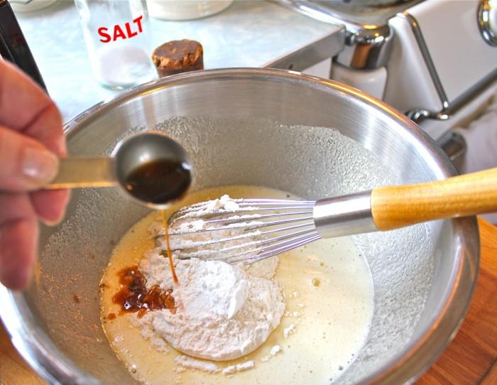 vanilla goes into the bowl