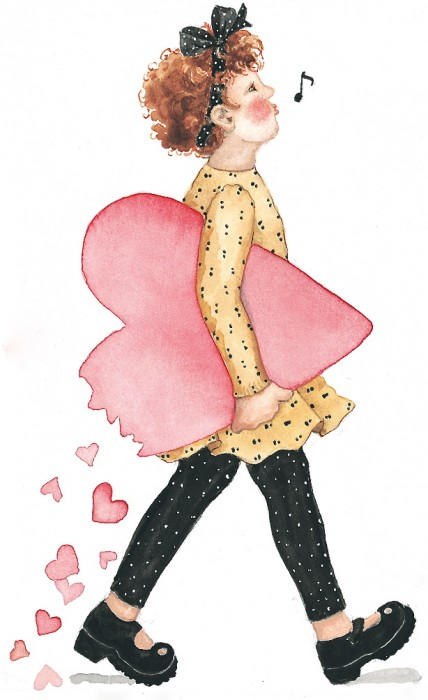 girl with hearts