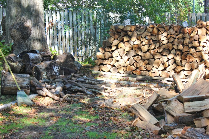 stacking the wood pile