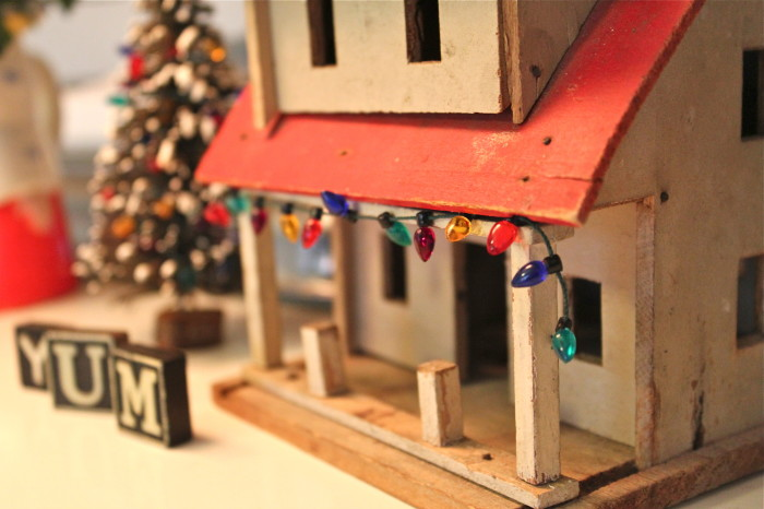 Little house decorated for Christmas