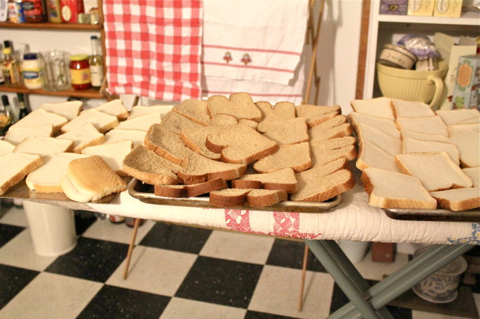 setting out the bread to dry