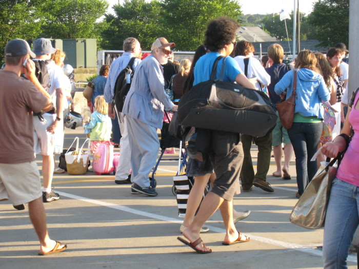 Tourists unloading from ferry in vineyard haven