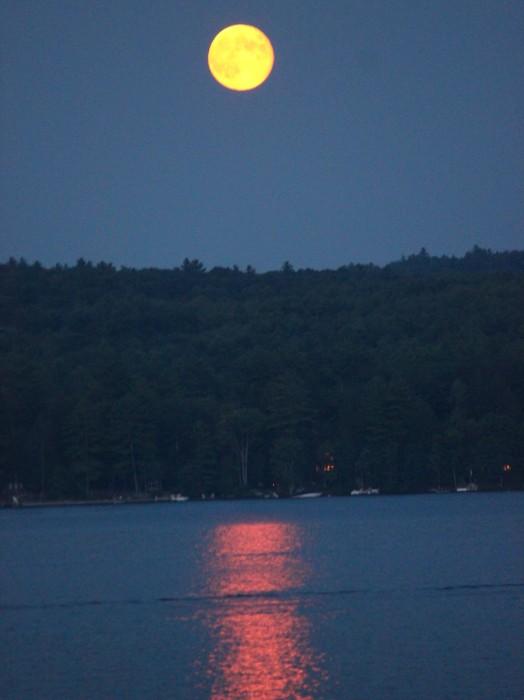 moon over Lake Winnipesaukee