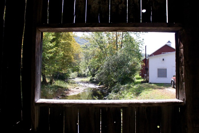 from inside a covered bridge