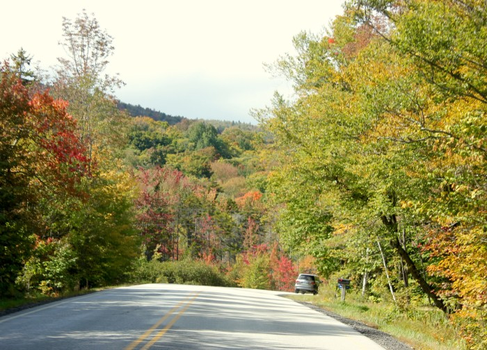 on the road in Vermont