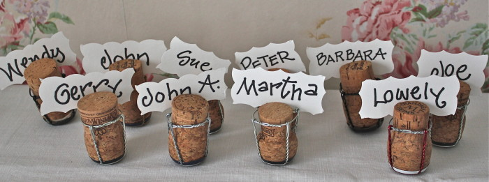 champagne cork placecards