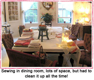 sewing at dining table